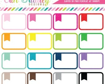 Rounded Flag Labels Clipart Instant Download Planner Clip Art Graphics Commercial Use OK