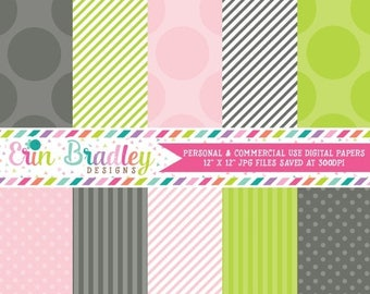 50% OFF SALE Digital Papers Digital Scrapbooking Personal and Commercial Use Pink Grey and Green