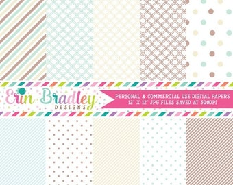 50% OFF SALE Digital Paper Pack Scrapbook Papers Personal and Commercial Use Soft Blue and Browns