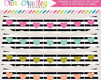 50% OFF SALE Clipart - Heart & Black Stripes Banners Commercial Use Clip Art Bunting Graphics Set