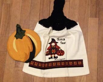 Patchwork Witch Halloween Kitchen Towel and Pumpkin Hot Pad - 2 Piece Set
