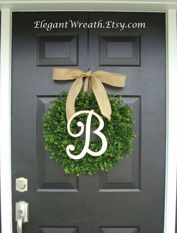 Faux Boxwood Wreath, Monogram Wreath, Outdoor Door Wreath, Ready to Ship, Fall Wreaths, Year Round Wreath, Spring Wreath