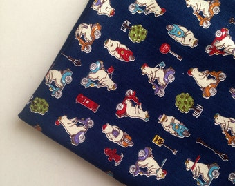 Fabric, Cotton, Navy, Blue, Bear, supplies, cute, crafting, children, teddy, doll, baby, cartoon, animal, polar bear, bike, red, ONE YARD