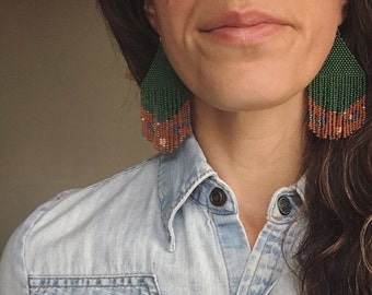 Handmade Bead Earrings Fringe Original Designs