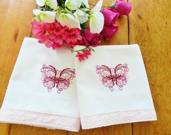 NOS Pink Butterfly Pillowcases, Pink Pillowcases, Butterfly Pillowcases, Never Used, Cotton Pillowcases, Machine Embroidery