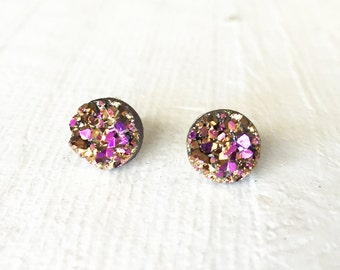 Gold/Pink Faux Druzy Stud Earring, 8mm Stud Earring, Gold Druzy Earring, Metallic Earrings, Glitter Stud Earrings / 1h