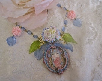 Sweet Caroline: Beautiful Woman Figural Choker Necklace Vintage Assemblage Porcelain Made in England Pink Blue Green MUCHA Art GORGEOUS FACE