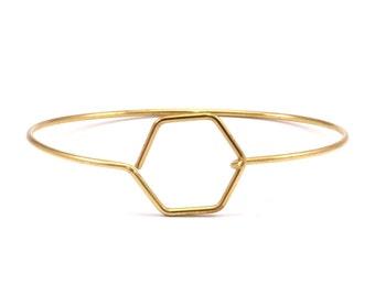 Wire Hexagon Bracelet, 10 Raw Brass Hexagon Wire Bracelets Brc199