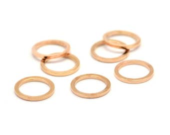 Rose Gold Circle Ring, 12 Rose Gold Plated Brass Round Rings, Charms (10mm) B0118