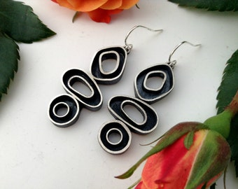 organic hoop earrings, sterling silver, hand forged, dangle, triple hoop earrings, multi hoop earrings, ready to ship