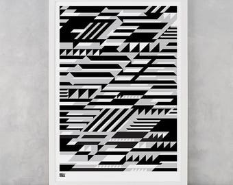 Geometric Screen Print, Faster Screen Print, Geometric Wall Art, Geometric Wall Poster