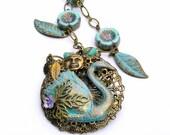 Vintage Patina Swan Necklace, Romantic Jewelry, Swan Lake, Bird Necklace