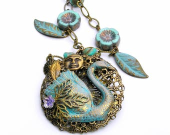 Vintage Patina Swan Necklace, Romantic Jewelry, Swan Lake, Bird Necklace