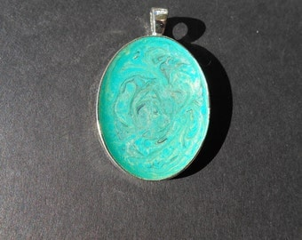 Teal & Silver Pendant - Small