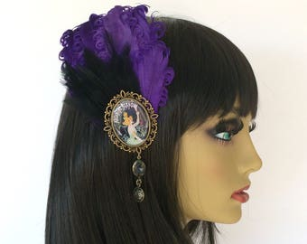 Purple Jazz Age Feather Fascinator, Purple and Black Fascinator, 1920s Hair Clip, Jeweled Hair Clip, Art Deco Fascinator