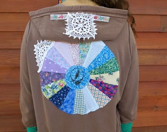 Grateful Dead Steal Your Face Mandala Upcycled Patchwork Zip Up Crochet Brown Sweater Hoodie Jacket Sweatshirt Festival Womens OOAK Size L