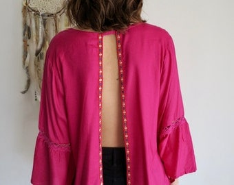 Magenta Embroidered Beaded Bell Sleeve Layering Open Back Backless Blouse Top Shirt Lagenlook Eco Friendly Womens Size Medium/Large