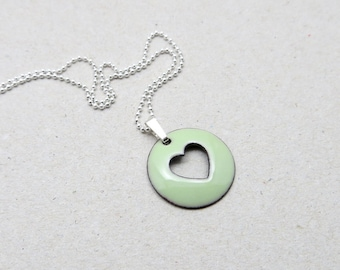 Heart Pendant Necklace - Pastel Green Heart Necklace - Green Enamel Pendant with Delicate Sterling Silver Chain