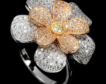 14K white ,flower ,daisy yellow gold  coating 925 sterling  silver Ring
