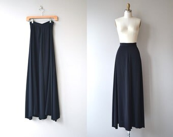 Opening Night silk skirt | vintage 1930s skirt | long black silk 30s maxi skirt