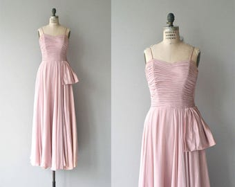 Soubrette silk dress | vintage 1940s dress | long 40s dress