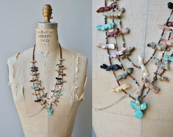 Zuni Fetish necklace | vintage 1960s old pawn necklace | 60s zuni jewelry