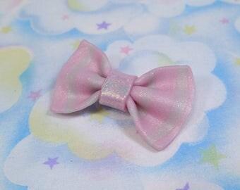 Translucent fairy kei pink bow barrette - polymer clay original