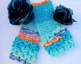 Crochet Dragonscale Fingerless Gloves, Ocean Waves Blue