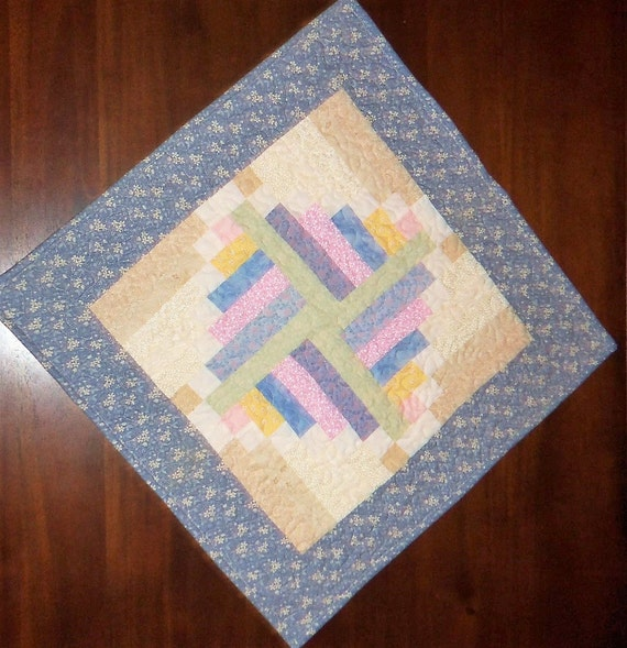 quilted table runner square placemat pastel colored mock. Black Bedroom Furniture Sets. Home Design Ideas