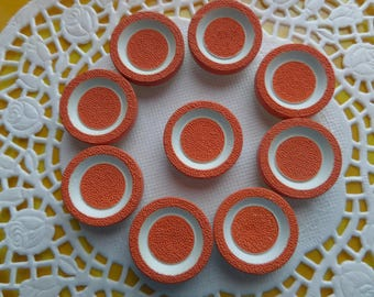9 Vintage Orange and White Buttons with Texture