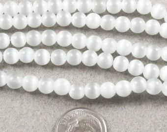 """14"""" 6mm Round Cat Eye Beads - WHITE/GRAY (65 beads)"""