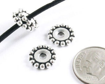 TierraCast Large 2.5mm Hole Pewter Beads-Silver BEADED DAISY SPACER 12mm (4)