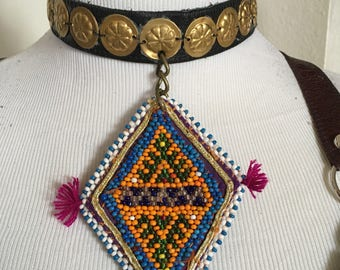 ATS , Tribal, Festival, leather  choker