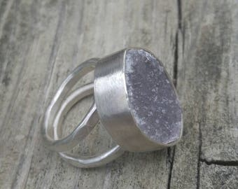Amethyst Cluster Sterling Silver Ring Size 7