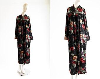 Vintage Velour Ashley Richards Floral Print Long Sleeve Half Zip Woman's Retro Overcoat Nightgown