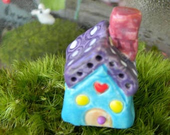 Little Clay House Purple  Roof Turquoise terrarium  House Miniature with a heart