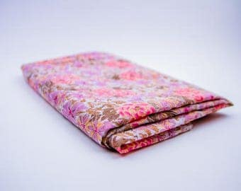 Cotton Viscose Fabric, Flowers pattern, lilac and coral, semi transparent fabric