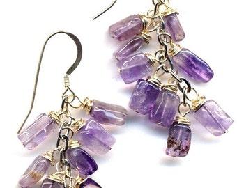 SALE Grape Earrings in Amethyst and Sterling. NEW Line. Sterling Silver Ear Wire. Lavender  Earrings. Lilac Earrings Handmade Jewelry by Ann