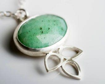 Hyacinth Chrysoprase Petal Pendant in Silver, Bright Green