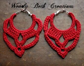 Red Italian Crochet Hoop Earrings - Boho, Belly Dance, Tribal, Pin Up, Retro, Statement, Nickel Free