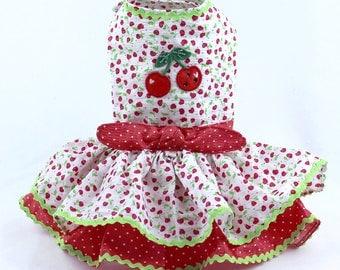 Dog Dress, Dog Harness Dress, Dog Fashion, Custom Dog Clothes, Summer Dress for Small Dogs, Seersucker, Ruffle, White, Red, Cherry