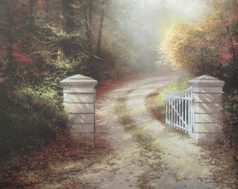 Two Thomas Kinkade Original Book Page Prints - Autumn Lane and Autumn Gate