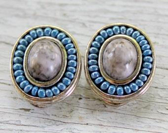 Liz Claiborne Earrings Silver Blue Clip On Signed Vintage