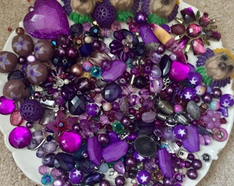 HUGE  1 POUND 5 oz Destash Bead Mix Vintage glass metal plastic Purple