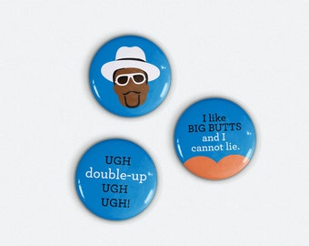 Sir Mix-A-Lot Original I1 in. Pinback Button set of 3 Baby Got Back