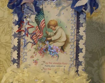 July 4th Decoration Independence Day 4th of July Patriotic Decoration Handmade Vintage Style