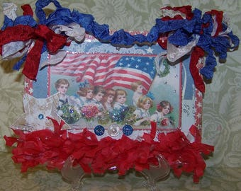 Patriotic Decoration July 4th Decoration 4th of July Indepence Day Handmade Vintage Style Wall Hanging Plaque