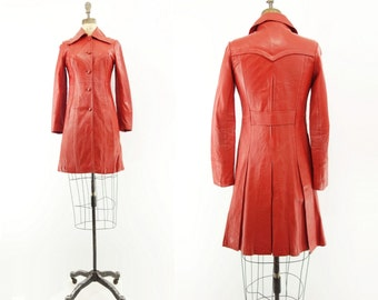 Vintage Leather Coat Red Leather Coat Red Leather Jacket Scarlet Leather Coat Vintage 70s Red Coat Pleated Leather Coat Coral Red Coat  xs