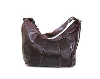MARCO BUGGIANI Leather Shoulder Bag Textured Supple Leather & Pony Hair Front Shoulder Handbag Italian Brownish Red Slouchy Designer Bag