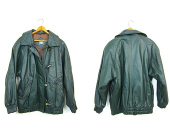 Vintage Dark Green Leather Coat Slouchy 80s 90s Leather PARKA Jacket TOGGLES Winter Fall Bomber Duffel Coat Mens Small